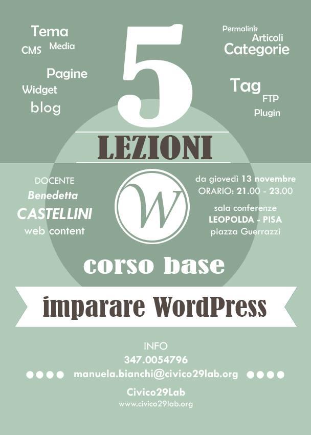 Corso base WordPress Pisa Novembre 2014